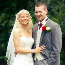 Mr and Mrs Wormald on their wedding day. The couple supported Headway on their big day.