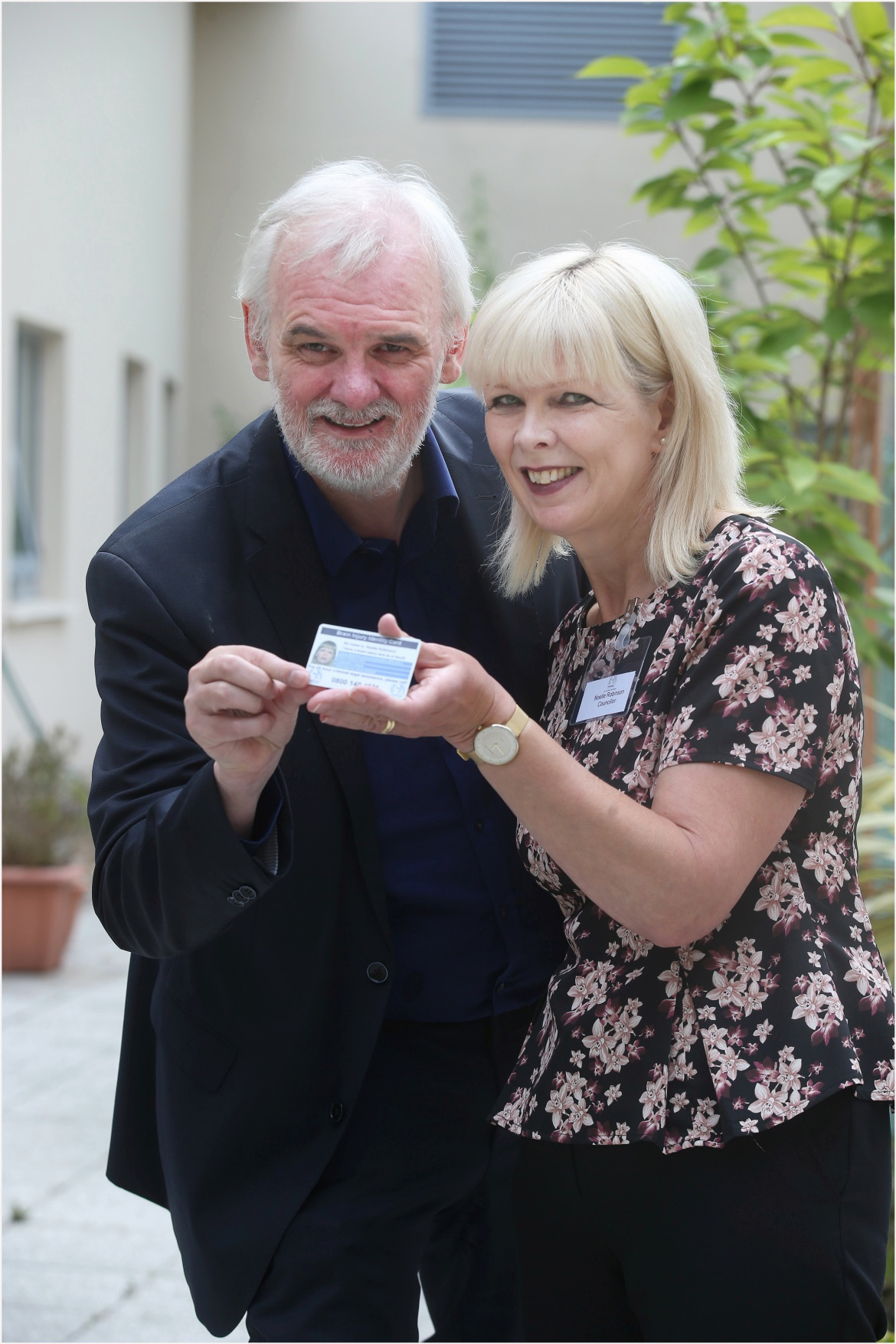 Noelle pictured with comedian Tim McGarry at the launch of the card in Northern Ireland.