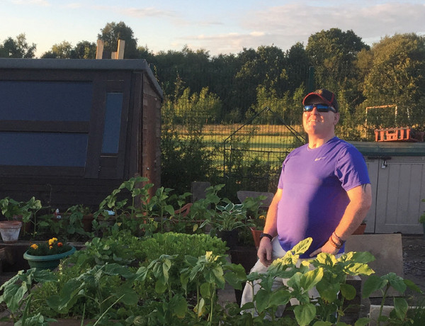 Robert Fraser enjoys a beautiful evening in the Headway North Lanarkshire allotment