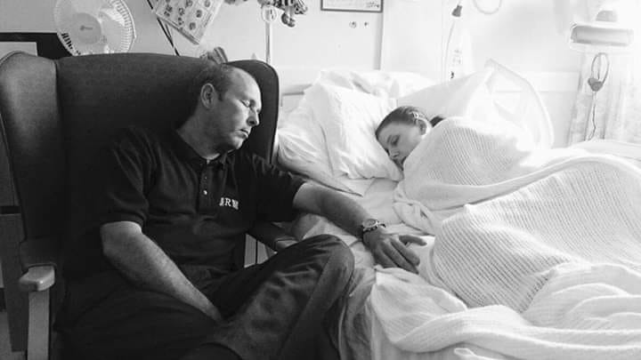 Nap time in the hospital for Amy and her dad