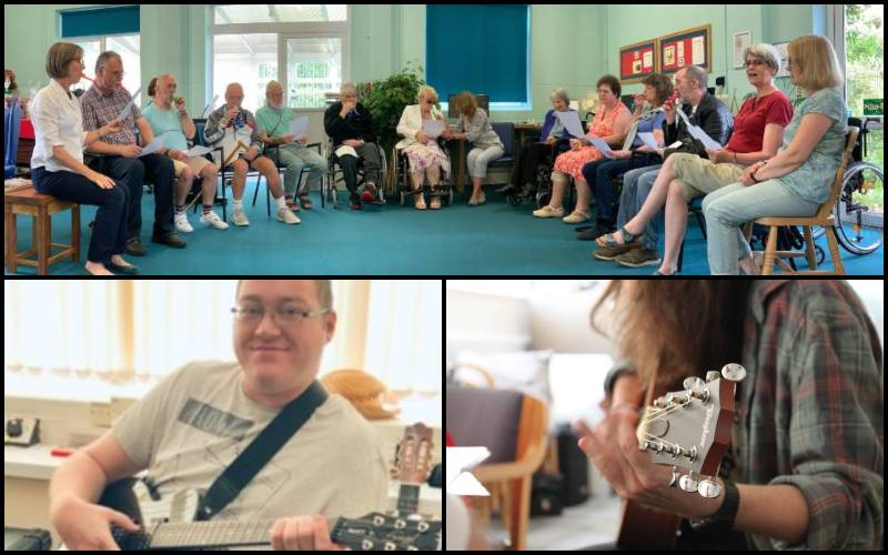 Service users showing off their music talent