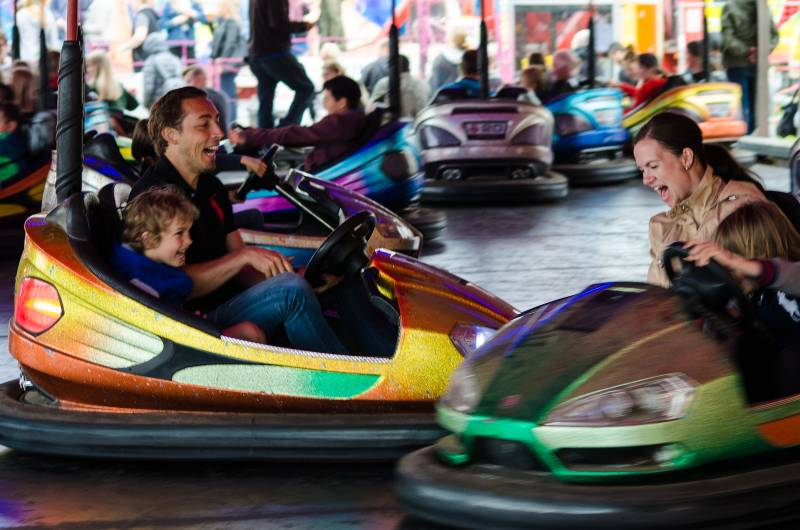 a family on the dodgems